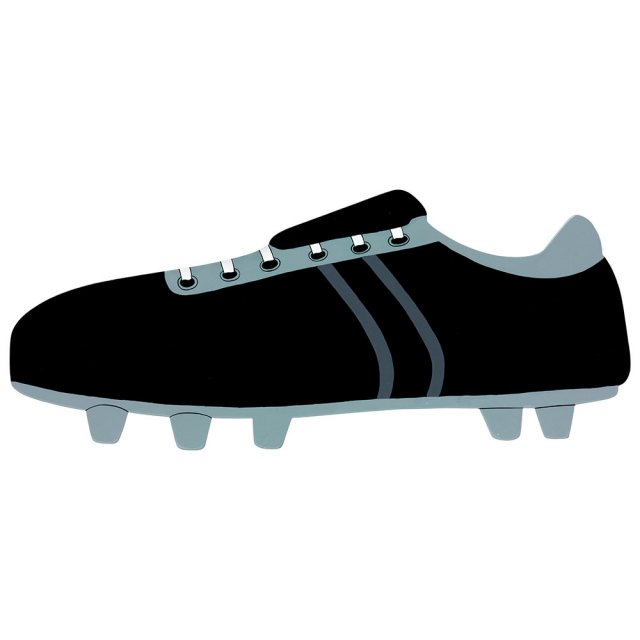 A large, flat wooden name board plaque in black football boot design with silver studs.