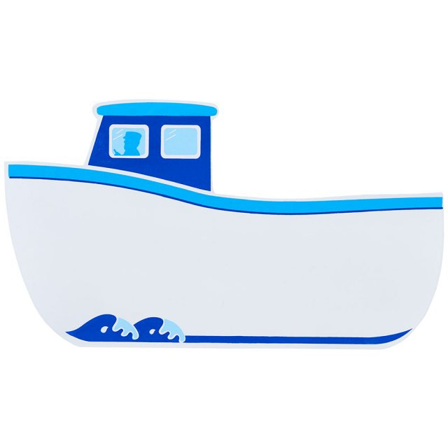 A small, flat wooden name board plaque in white fishing boat design
