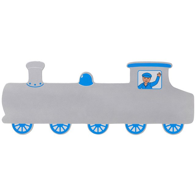 A large, flat wooden name board plaque in silver train design with blue details and driver