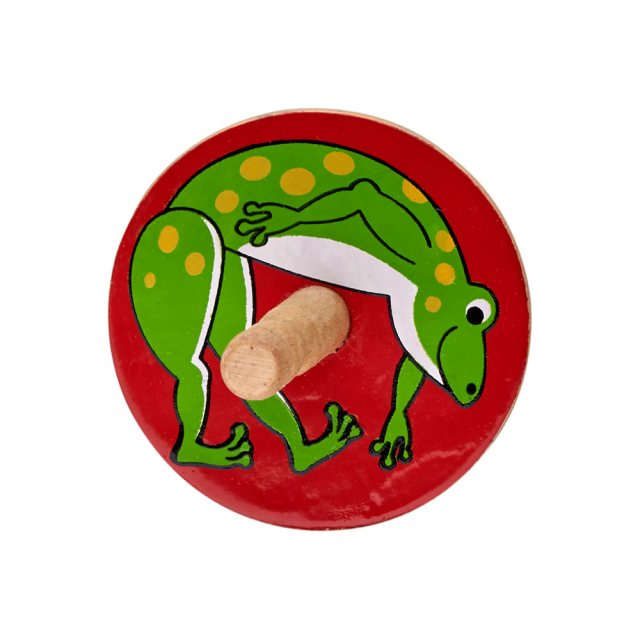 a birds eye view of a red spinning top with green frog design
