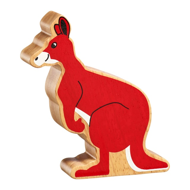 A chunky wooden red kangaroo toy figure in profile with a natural wood edge