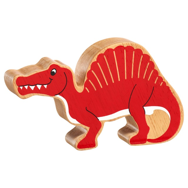 A chunky wooden red spinosaurus dinosaur toy figure in profile with a natural wood edge