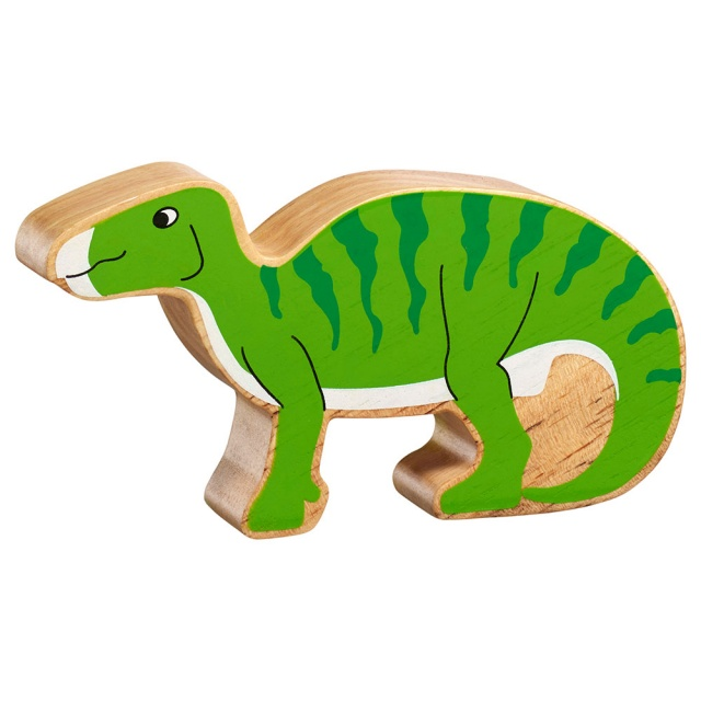 A chunky wooden green iguanodon dinosaur toy figure in profile with a natural wood edge