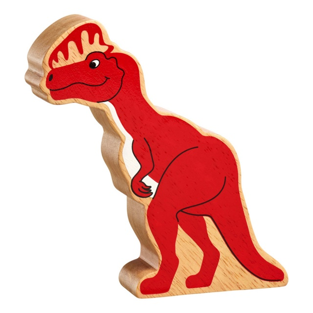 A chunky wooden red dilophosaurus dinosaur toy figure in profile with a natural wood edge