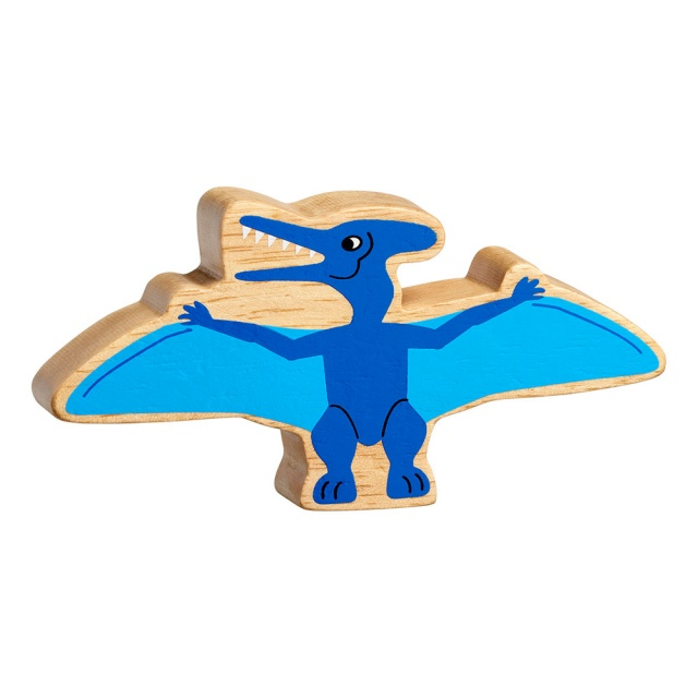 A chunky wooden blue pteranodon dinosaur toy figure in profile with a natural wood edge