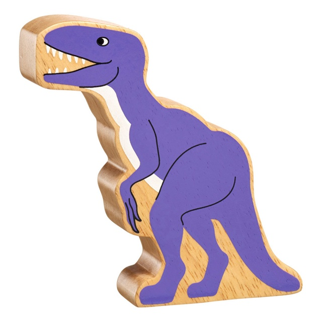 A chunky wooden purple velociraptor dinosaur toy figure in profile with a natural wood edge