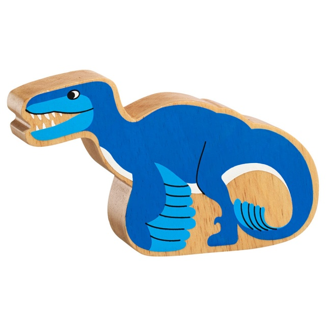 A chunky wooden blue utahraptor dinosaur toy figure in profile with a natural wood edge