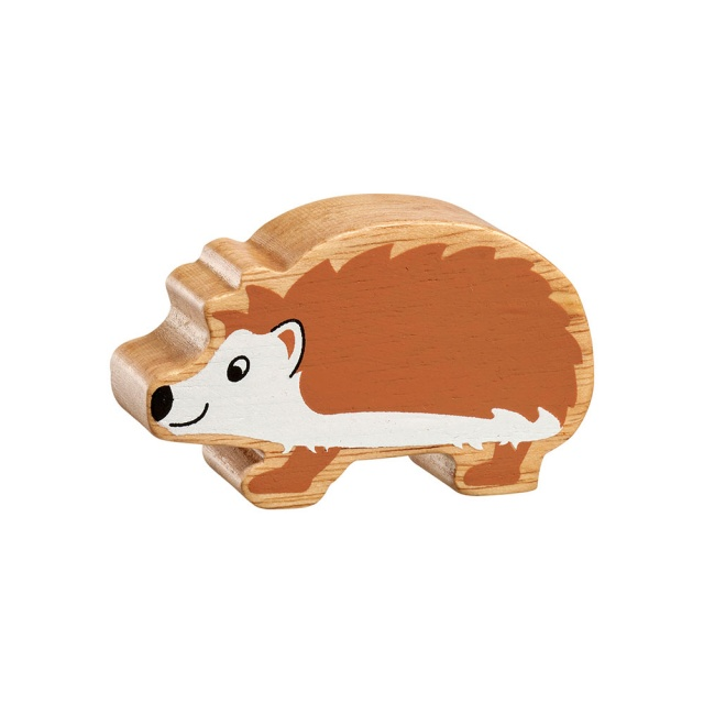 A chunky wooden brown and white hedgehog toy figure with a natural wood edge