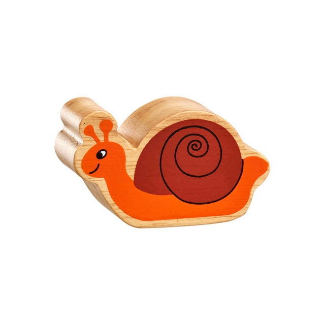 A chunky wooden orange and brown snail toy figure in profile with a natural wood edge
