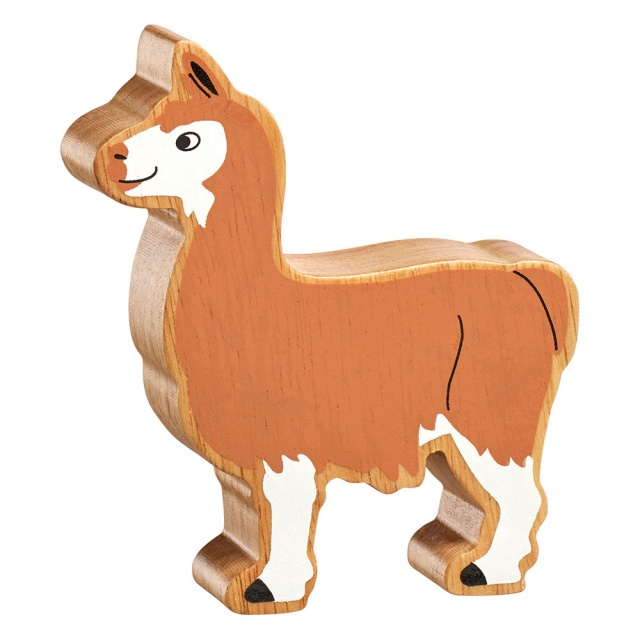 A chunky wooden brown and white llama toy figure with a natural wood edge