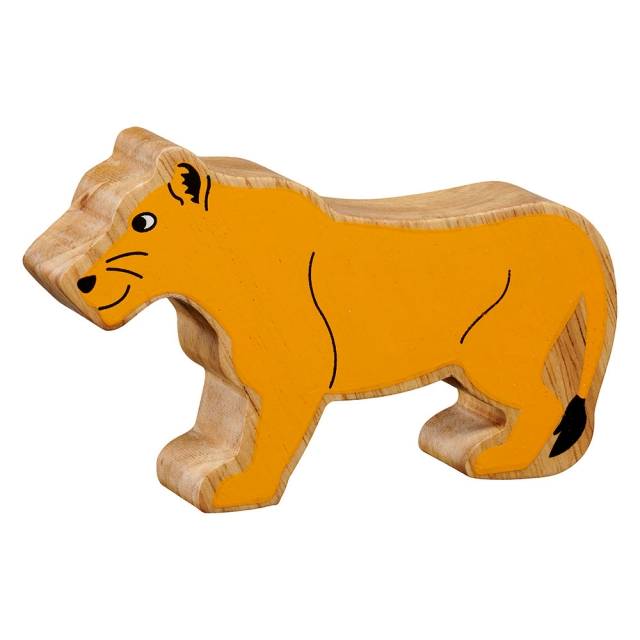 A chunky wooden yellow lioness toy figure with a natural wood edge