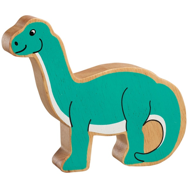 A chunky wooden turquoise diplodocus dinosaur toy figure with a natural wood edge