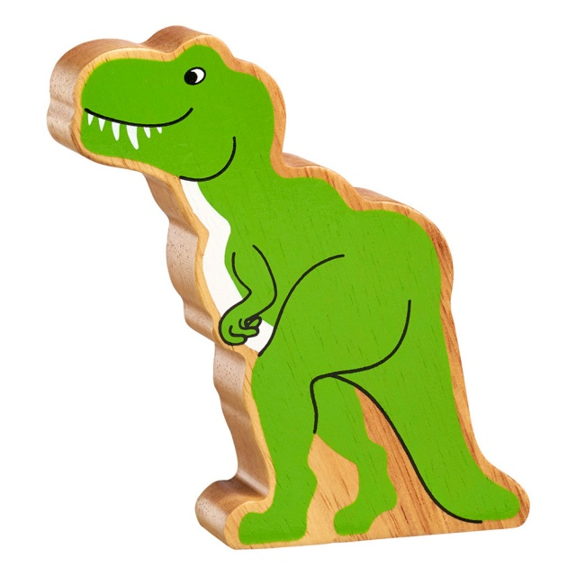 A chunky wooden green t rex dinosaur toy figure with a natural wood edge