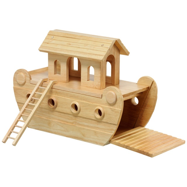 Natural wood Noah's ark showing assembled boat without characters, ramp down and ladder to side