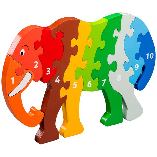 Ten piece rainbow elephant 1-10 wooden jigsaw puzzle in super chunky jumbo size, free standing