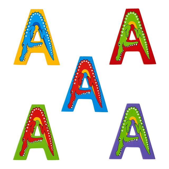 Wooden letter A with Alligator designs on blue, green, yellow, purple and red backgrounds.