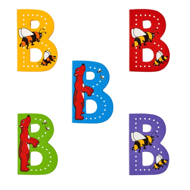 Wooden letter B with Bear and Bumblebee designs on blue, green, yellow, purple, red backgrounds.