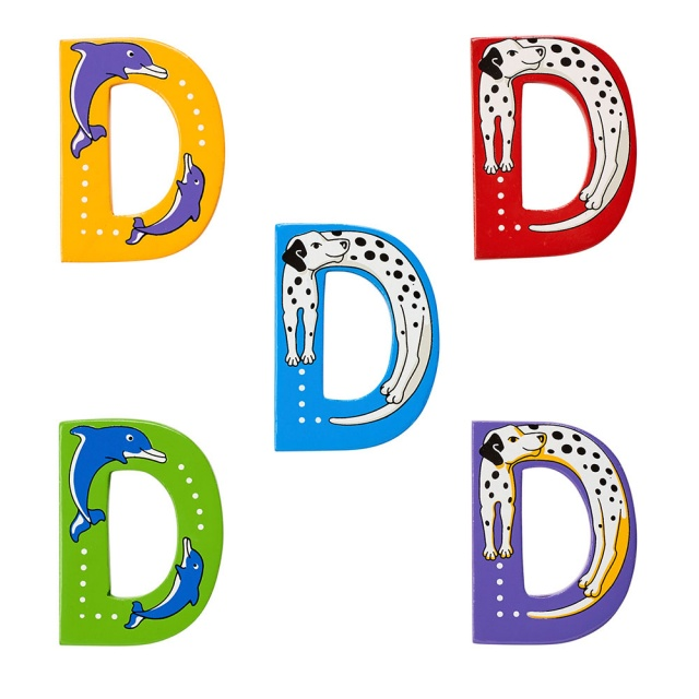 Wooden letter D with Dog and Dolphin designs on blue, green, yellow, purple and red backgrounds.