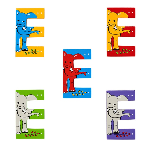 Wooden letter E with elephant designs on blue, green, yellow, purple and red backgrounds.