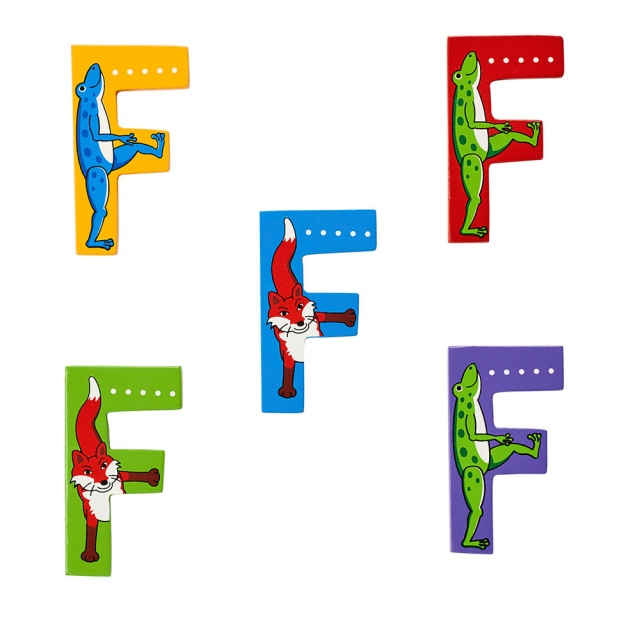 Wooden letter F with Frog and Fox designs on blue, green, yellow, red and purple backgrounds.