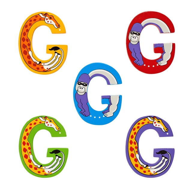 Wooden letter G with Gorilla and Giraffe designs on blue, green, yellow, red, purple backgrounds.