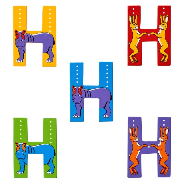 Wooden letter H with Hippo and Hare designs on blue, green, yellow, red and purple backgrounds.