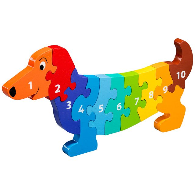 Ten piece rainbow dog 1-10 wooden jigsaw puzzle in super chunky jumbo size