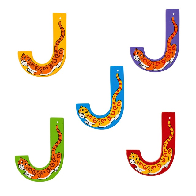 Wooden letter J with Jaguar designs on blue, green, yellow, red and purple backgrounds.