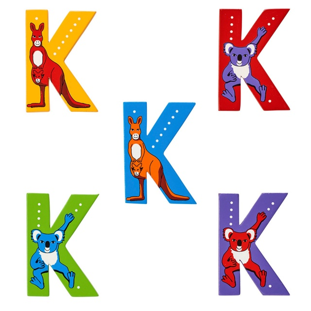 Wooden letter K with Koala and Kangaroo designs on blue, green, yellow, red, purple backgrounds.