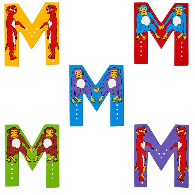 Wooden letter M with Monkey and Meerkat designs on blue, green, yellow, red, purple backgrounds.