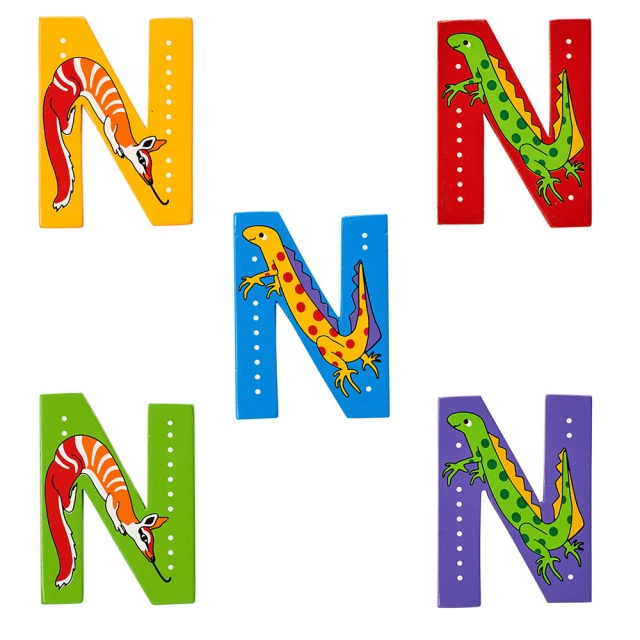 Wooden letter N with Numbat and Newt designs on blue, green, yellow, red and purple backgrounds.