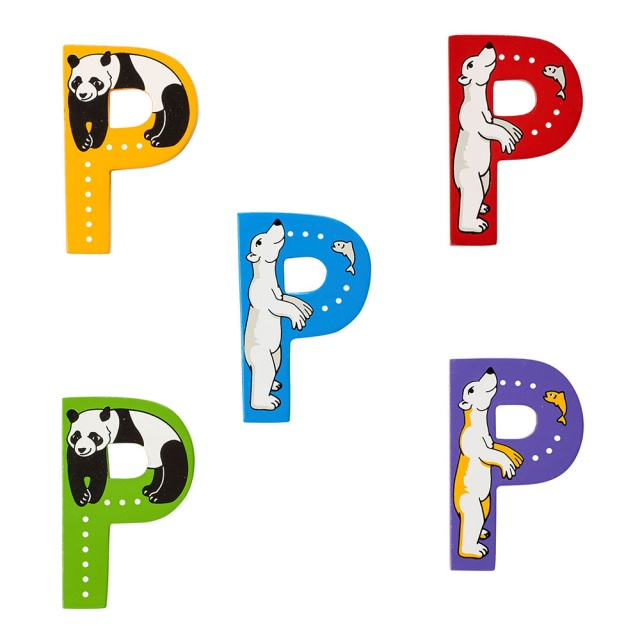 Wooden letter P with Panda and Polar Bear designs on blue, green, yellow, red, purple backgrounds.