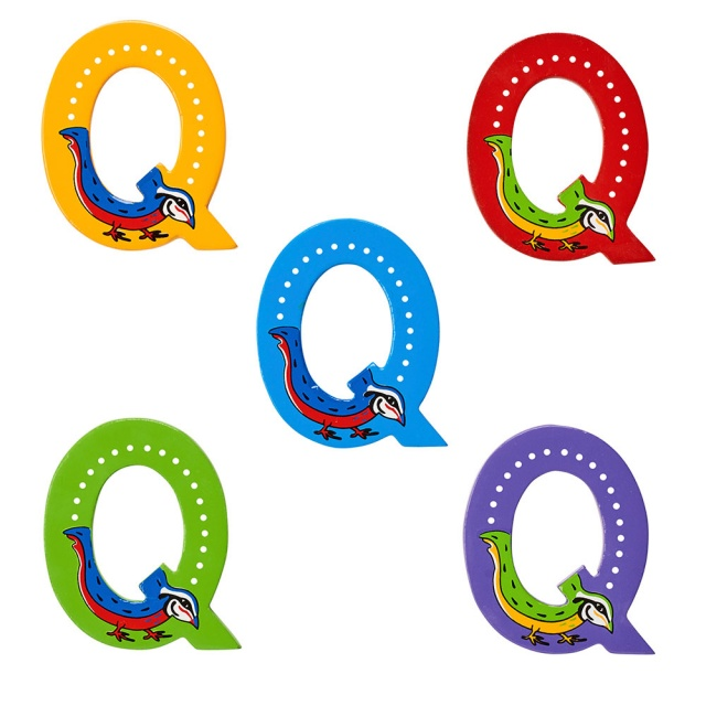 Wooden letter Q with Quail designs on blue, green, red, purple and yellow backgrounds.