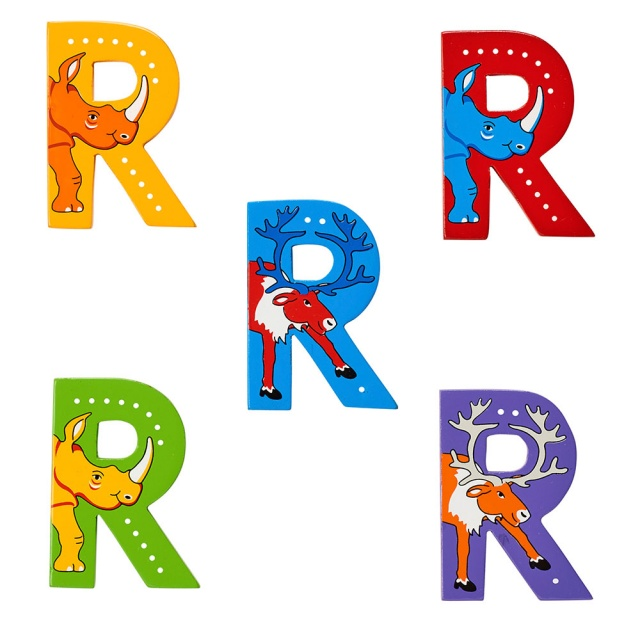 Wooden letter R with Rhino and Reindeer designs on blue, green, red, purple, yellow backgrounds.