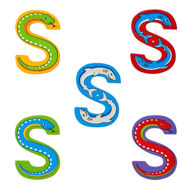 Wooden letter S with Shark and Snake designs on blue, green, red, purple and yellow backgrounds.
