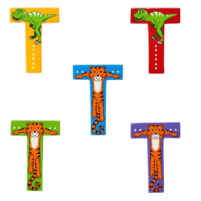 Wooden letter T with T-Rex and Tiger designs on blue, green, red, purple and yellow backgrounds.