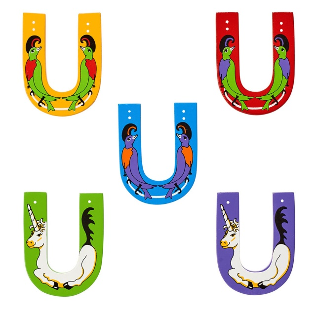 Wooden letter U with Unicorn and Umbrella bird designs on blue, green, red, purple, yellow backdrops