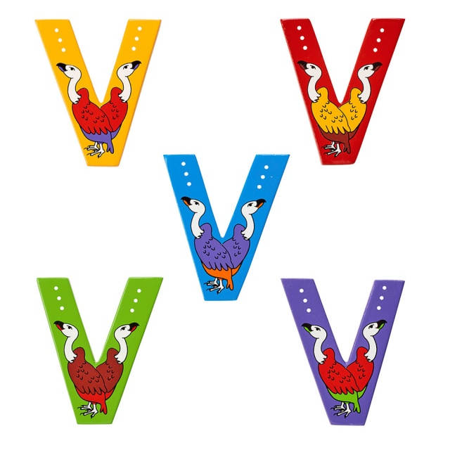 Wooden letter V with Vulture designs on blue, green, red, purple and yellow backgrounds.