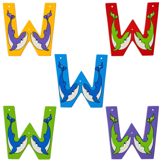 Wooden letter W with Whale designs on blue, green, red, purple and yellow backgrounds.