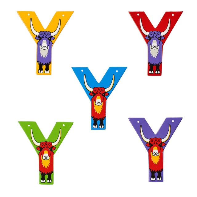 Wooden letter Y with colourful Yak designs on blue, green, red, purple and yellow backgrounds.