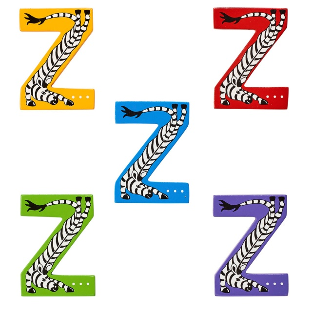 Wooden letter Z with colourful Zebra designs on blue, green, red, purple and yellow backgrounds.