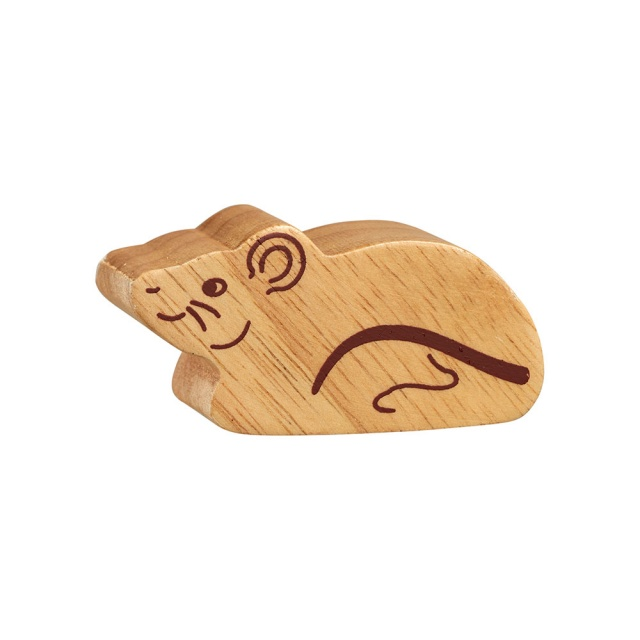 A chunky wooden mouse toy figure in profile, plain with wood grain