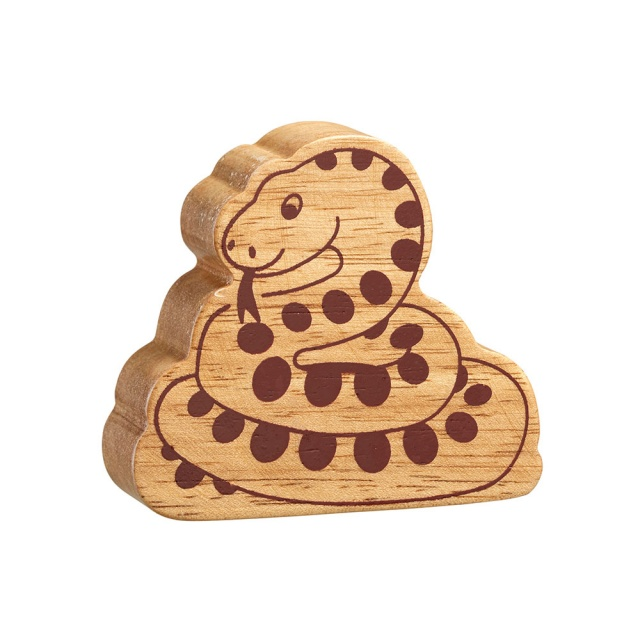 A chunky wooden snake toy figure in profile, plain with wood grain