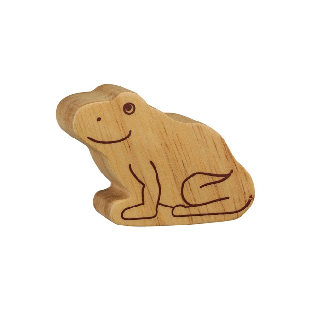 A chunky wooden frog toy figure in profile, plain with wood grain