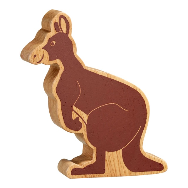 A chunky wooden kangaroo toy figure in profile, plain natural wood with brown details