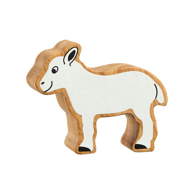 A chunky wooden white lamb toy figure with a natural wood edge