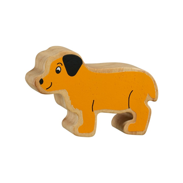 A chunky wooden yellow puppy toy figure with a natural wood edge