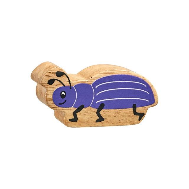 A chunky wooden purple beetle toy figure with a natural wood edge