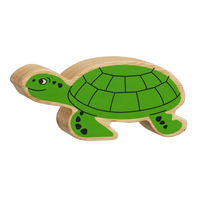 A chunky wooden green turtle toy figure with a natural wood edge
