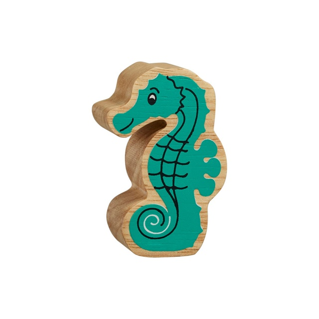 A chunky wooden turquoise seahorse toy figure with a natural wood edge